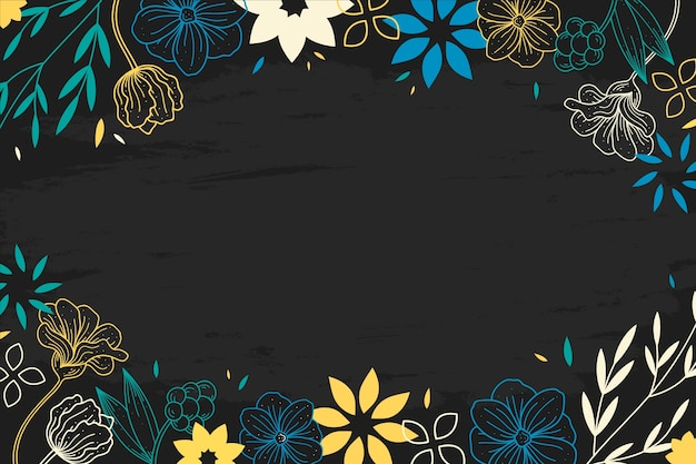 Drawing of flowers on blackboard background