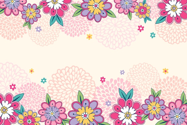 Drawing of flowers on blackboard wallpaper design