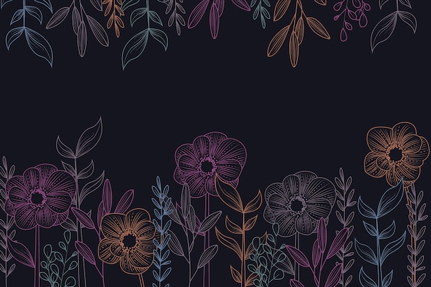 Drawing of flowers on blackboard wallpaper