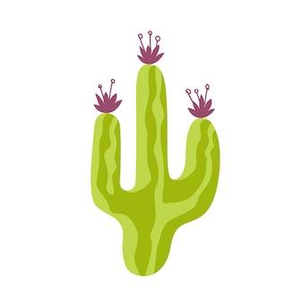 白い背景のベクトル図に分離された花と緑のとげのあるサボテンを描く