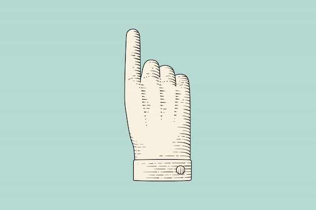 Drawing of hand sign with thumbs up in engraving style
