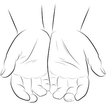 白い背景、ベクトルで隔離の男の手を描く