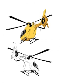 Drawing of helicopter in yellow color, isolated . drawing for posters, decoration and print.