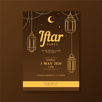 Drawing iftar invitation template concept