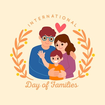 Drawing international day of families illustrated