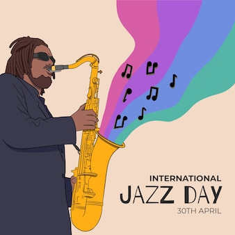 国際ジャズの日のお祝いを描く