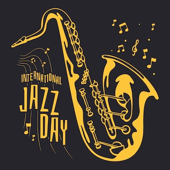 Drawing internationl jazz day concept