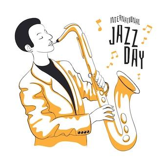 Drawing internationl jazz day design