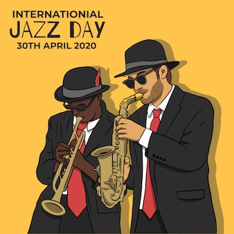 Drawing internationl jazz day theme