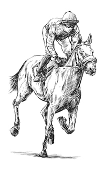 Drawing of jockey hand draw