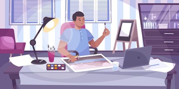 Lezioni di disegno online composizione piatta con vista sul posto di lavoro domestico con pittura ragazzo e laptop