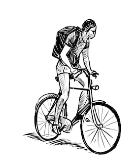 Drawing of the man ridding bicycle hand draw