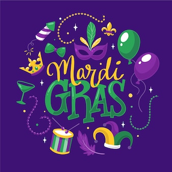 Drawing of mardi gras concept