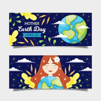 Drawing of mother earth day banner collection design