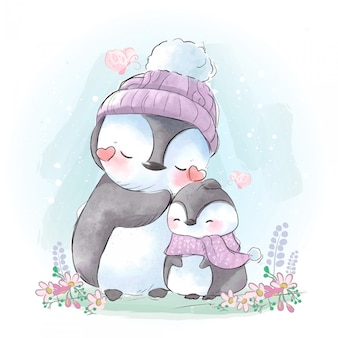 Drawing of the mother and son of a connected penguin in the cold weather of the winter coming.
