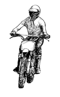 Drawing of the motocross competition hand draw