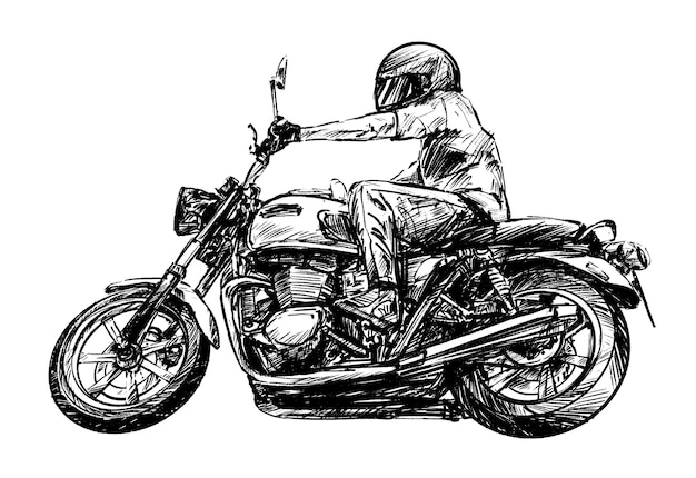 Drawing of the motocycle rider hand draw