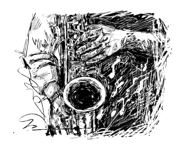Drawing of the musician plays saxophone hand draw