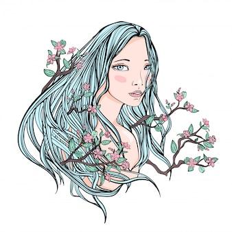 白い背景の上の長い花の髪の美しい少女の描画。薄い肌と花と枝の青い髪。イラストの肖像画。