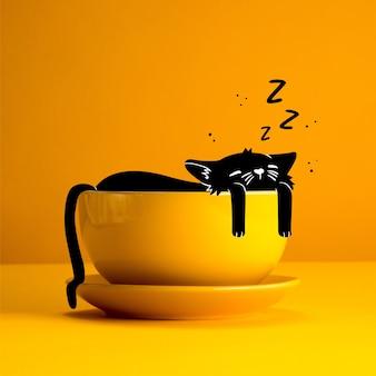 컵에서 잠자는 고양이의 그림