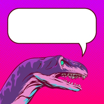 空のスペースでコミックスタイルで話す恐竜の頭の描画。インターネット投稿とソーシャルネットワークの正方形の背景。ベクトルイラスト