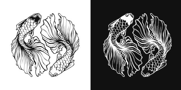 塗り絵の黒と白の魚の描画