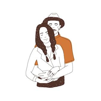 恋にかわいいカップルの描画