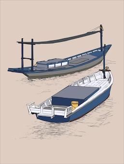 海での釣りトロールの描画