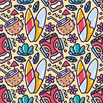 アイコンとデザイン要素で手描きハワイの休日の描画