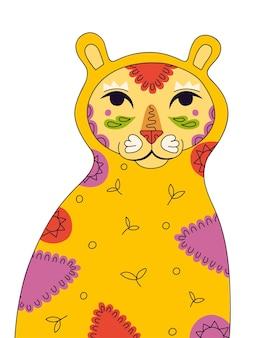 Рисунок латиноамериканского горного льва-пумы с рисунком листьев на теле народного цветочного искусства на орнаменте