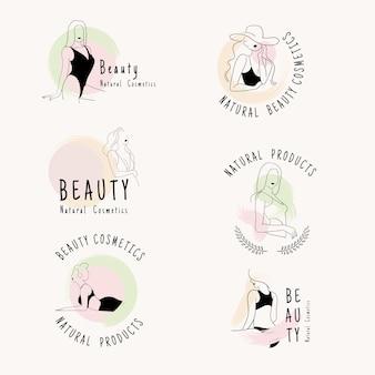 Рисунок набора логотипов. женская красота.