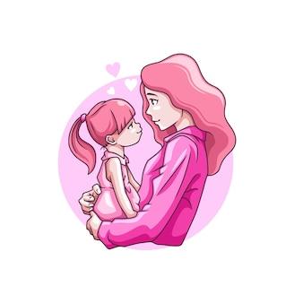 어머니의 날에 그녀의 아이를 안고 어머니의 그림