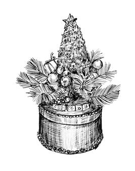 クリスマスギフトボックスの手描きの描画