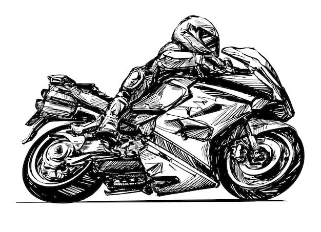オートバイのライダーの描画は手描きを分離します
