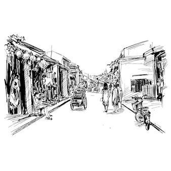 Рисунок старого города хойан во вьетнаме