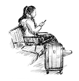 乗客の絵が空港の手描きで待っています