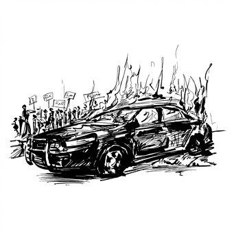 パトカーの絵が燃えている