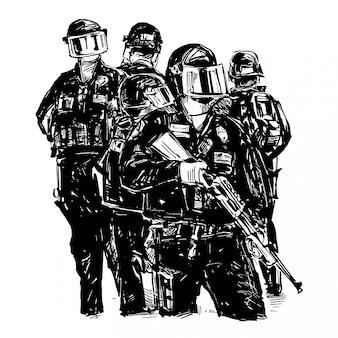 警察グループの絵が立っています