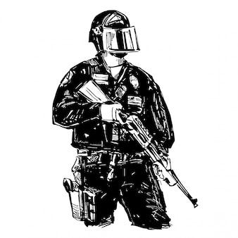 銃を持った警察の絵