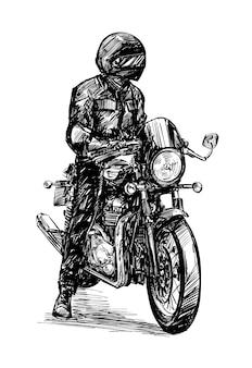 クラシックバイクのライダーの描画