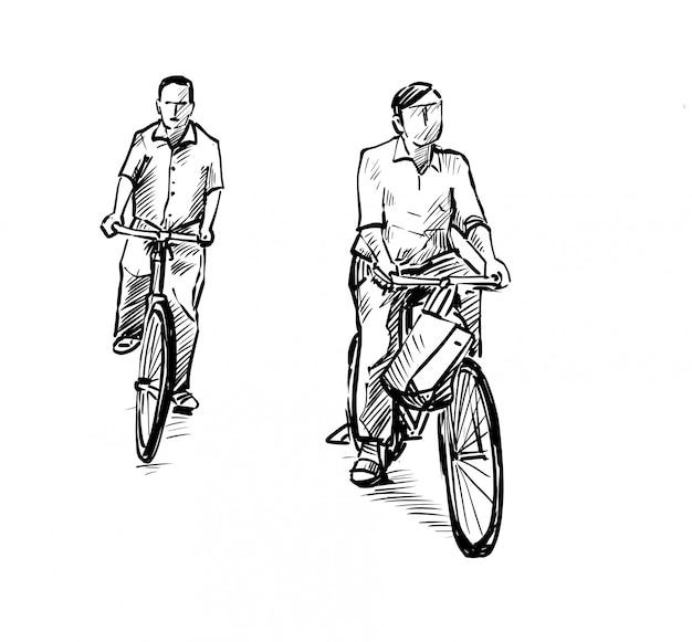 Рисунок двух мужчин избавляются от велосипеда