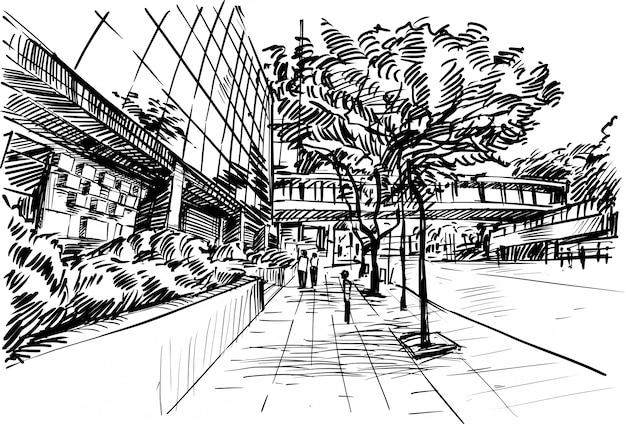 Рисунок пешеходной дорожки и здания в гонконге.