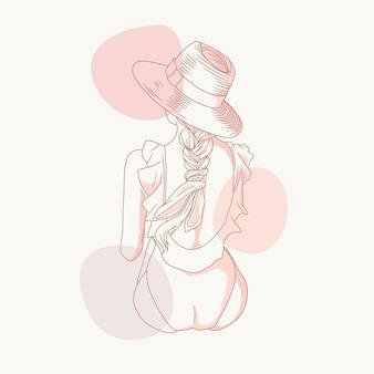 라인 아트 스타일을 사용하여 밀짚 모자를 쓰고 여자의 그림