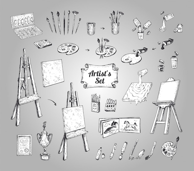 Drawing and painting supplies, vector icons set. hand drawn sketch of artist tools - paint brushes, pencil, palette with tubes, pen and canvas or easel isolated objects. vector vintage illustrations
