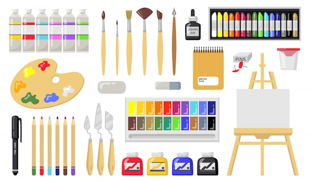 Drawing and painting tools set