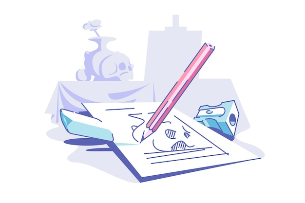 Drawing on paper vector illustration. piece of paper pencil eraser and sharpener flat style. art and creative process concept. isolated