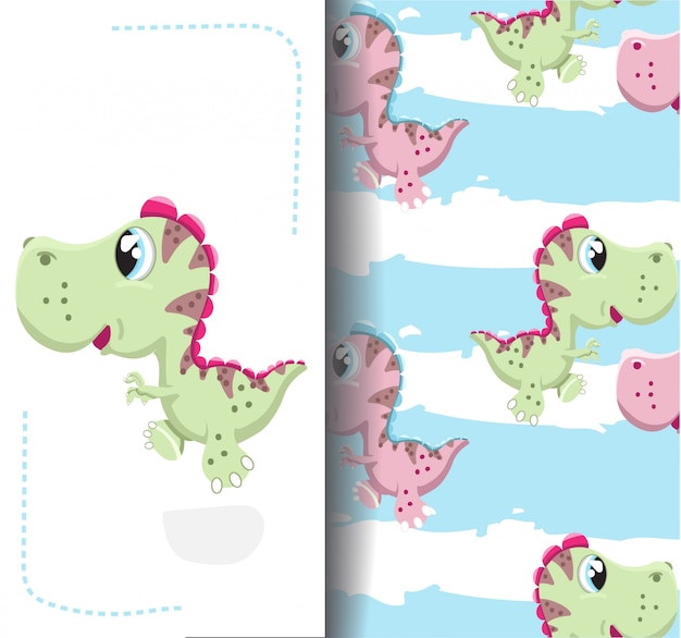 Drawing and pattern little dinosaur