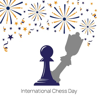 Drawing of pawn with shadow of queen cheese piece against white background with fireworks poster
