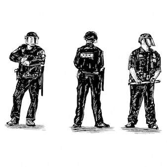 Drawing of the police standing position in america