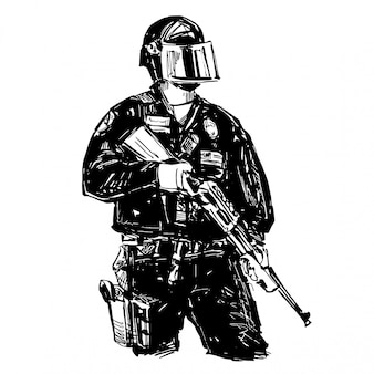 Drawing of the police with gun
